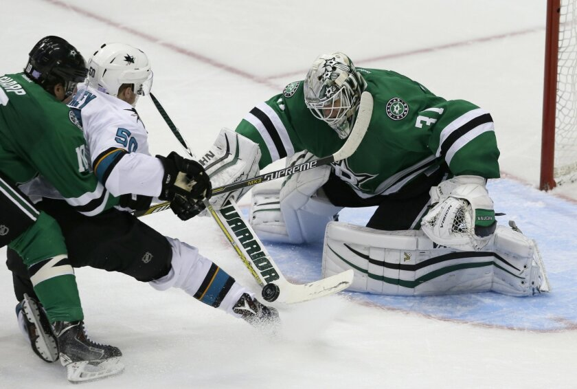 Dallas Stars goalie Antti Niemi (31) and left wing Patrick Sharp (10) defend the goal against San Jose Sharks center Chris Tierney (50) during the third period of an NHL hockey game Saturday, Oct. 31, 2015, in Dallas. The Stars won 5-3. (AP Photo/LM Otero)