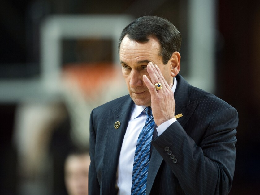Duke Coach Mike Krzyzewski during a Blue Devils game against Boston College on Jan. 2.