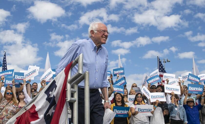 Bernie Sanders at a rally in Santa Ana.