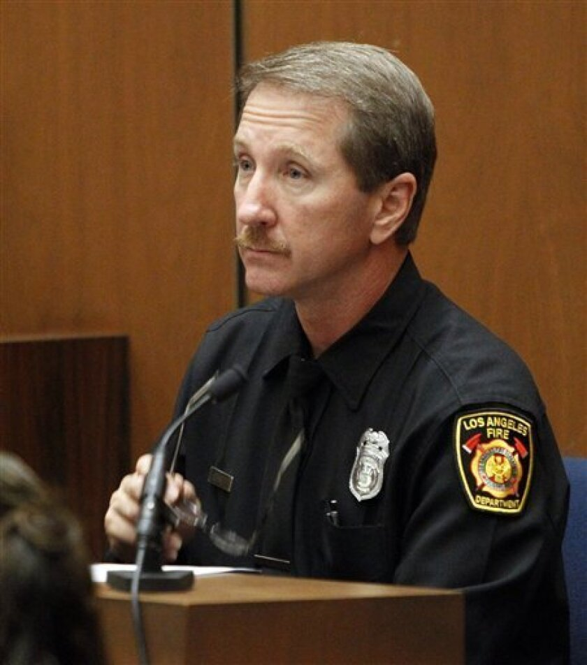 Paramedic Richard Senneff testifies during the Conrad Murray involuntary manslaughter trial in downtown Los Angeles, Friday, Sept. 30, 2011. Murray has pleaded not guilty and faces four years in prison and the loss of his medical license if convicted of involuntary manslaughter in Michael Jackson's death. (AP Photo/Al Seib, Pool)