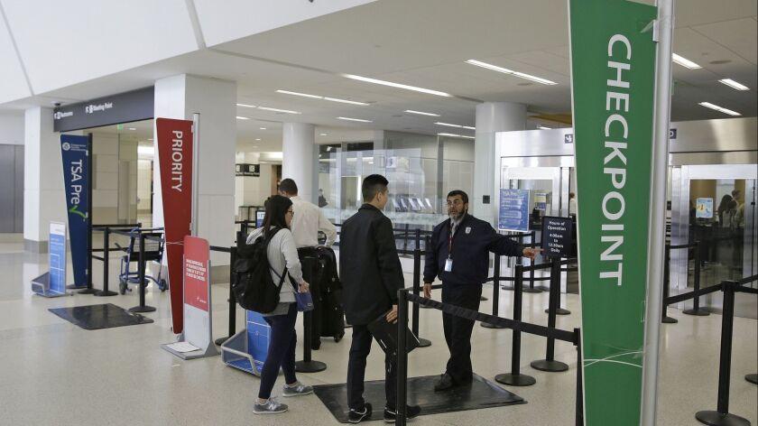 Security lanes at San Francisco International Airport in San Francisco.