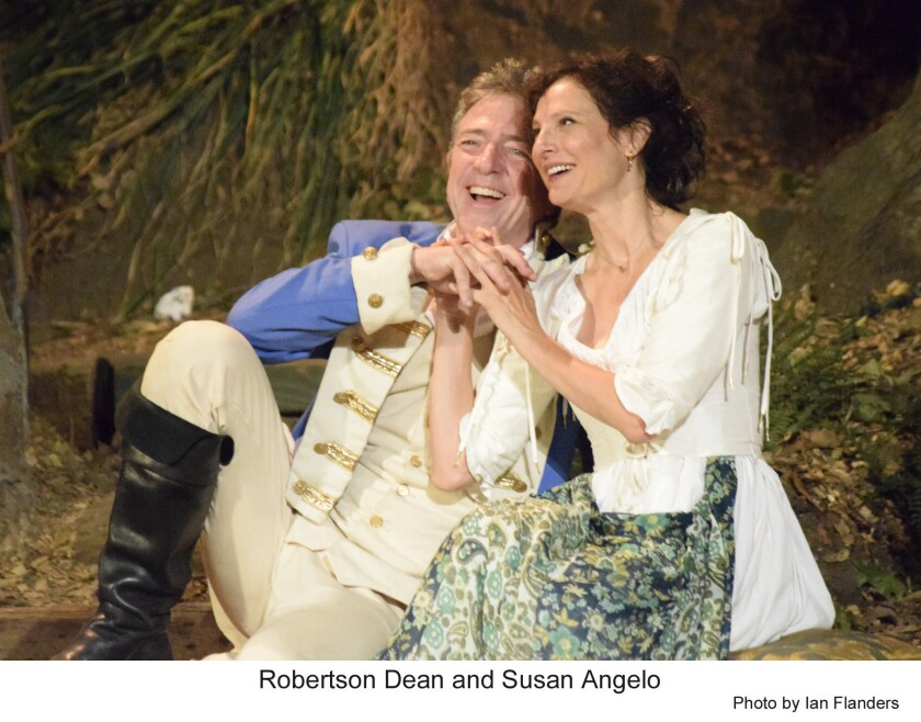 """Robertson Dean and Susan Angelo in """"Much Ado About Nothing"""" at Will Geer's Theatricum Botanicum."""