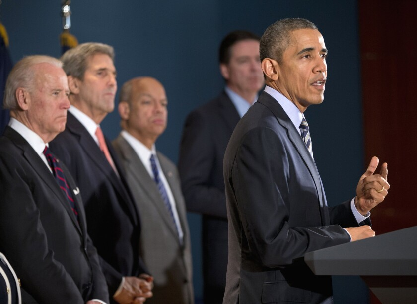 President Obama speaks at the National Counterterrorism Center in McLean, Va. Joining him are, from left, Vice President Joe Biden, Secretary of State John F. Kerry, Homeland Security Secretary Jeh Johnson and FBI Director James Comey.
