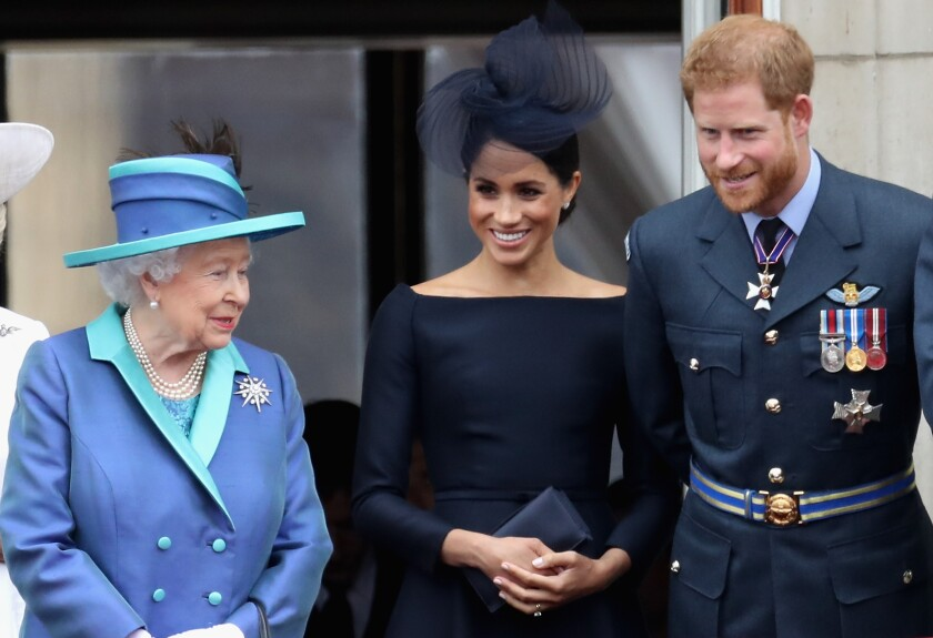Queen Elizbaeth II, Duchess Meghan and Prince Harry