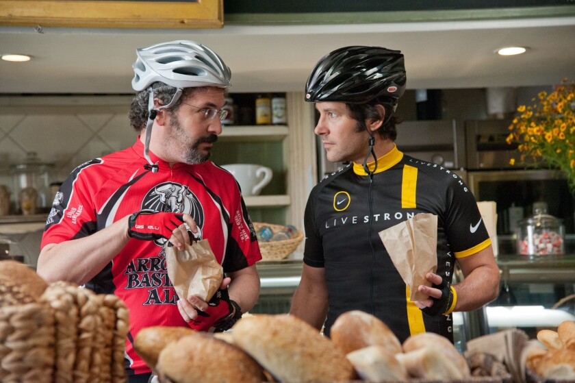 """Two guys who enjoy the open roads of L.A.'s Westside from the seats of their bikes: Barry (Robert Smigel), left, and Pete (Paul Rudd), in the movie """"This Is 40."""""""