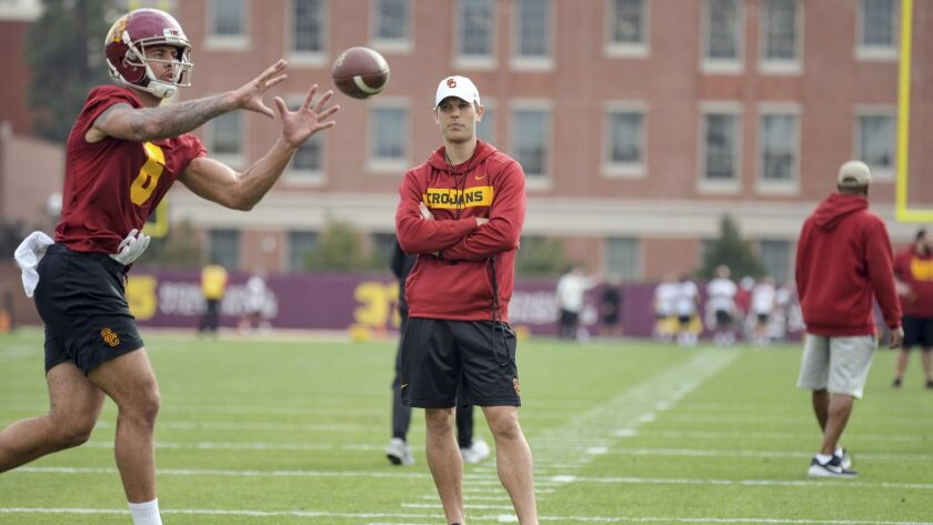 Graham Harrell took over as USC's offensive coordinator in January.