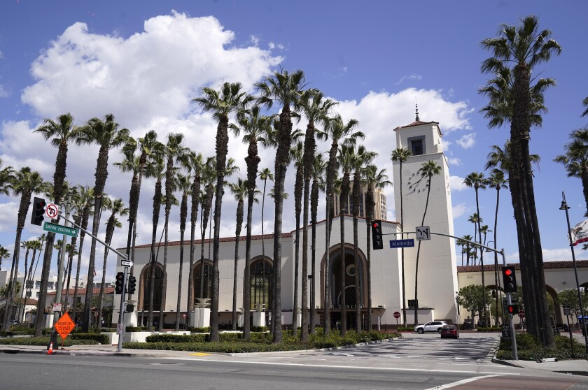 Union Station is pictured, Tuesday, March 23, 2021, in Los Angeles. When the Oscars broadcast begins April 25 on ABC, there won't be an audience. The base of the show won't be the Academy Awards' usual home, but will be held at Union Station, the airy, Art Deco-Mission Revival railway hub in downtown Los Angeles. For the producers, the challenges of COVID are an opportunity to, finally, rethink the Oscars. (AP Photo/Chris Pizzello)