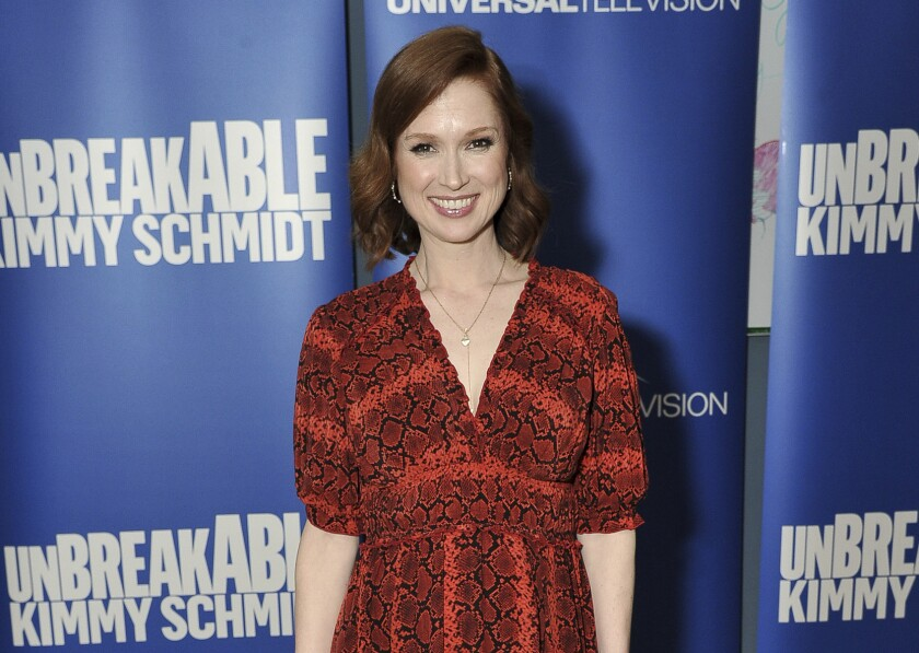 """FILE - Ellie Kemper attends the """"Unbreakable Kimmy Schmidt"""" FYC event on May 29, 2019, in Los Angeles. Kemper has apologized for participating in a debutante ball hosted by a St. Louis organization that she now says had """"an unquestionably racist, sexist and elitist past."""" (Photo by Richard Shotwell/Invision/AP, File)"""