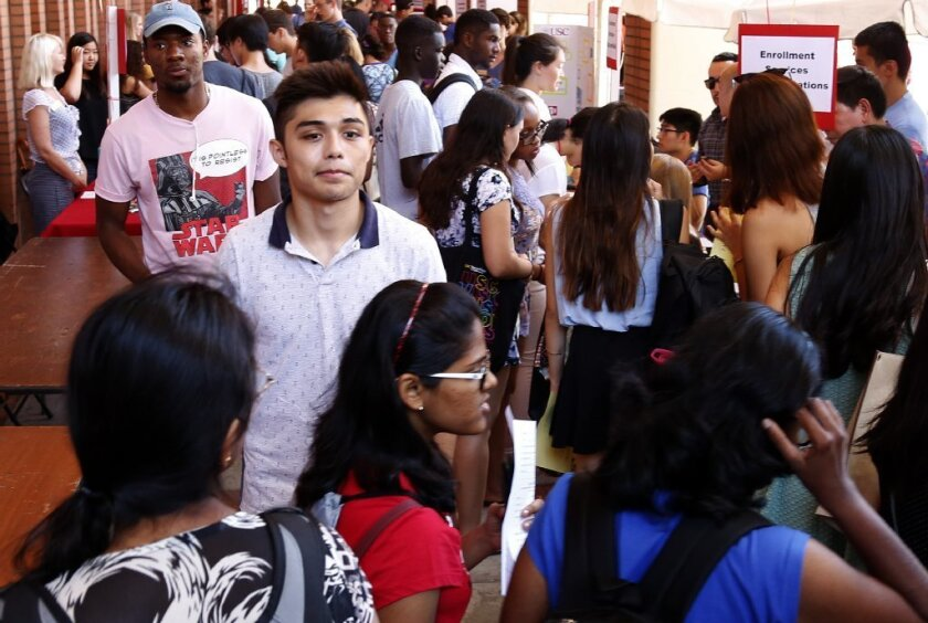 USC freshman Isaac Lemus attends a work study job fair on campus during welcome week.