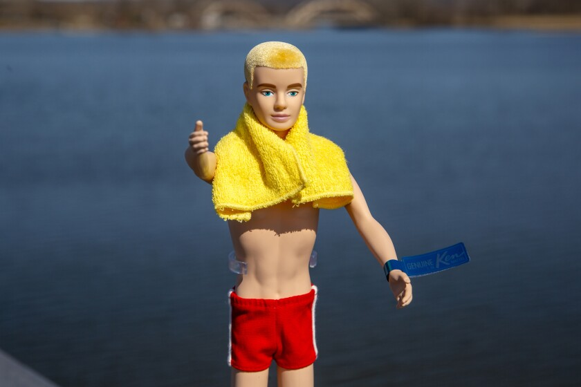 A reproduction of the original Ken doll, launched in 1961 as a companion to Barbie, appears in Bergen County, N.J., on Monday, March 8, 2021. Mattel has put the doll on sale this week to commemorate its 60th anniversary. (AP Photo/Ted Shaffrey)