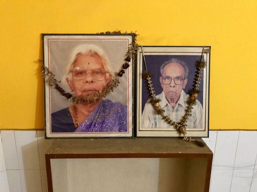 Photos of Kamala Harris' grandparents, Rajam and P.V. Gopalan, on display in their son G. Balachandran's house in New Delhi.