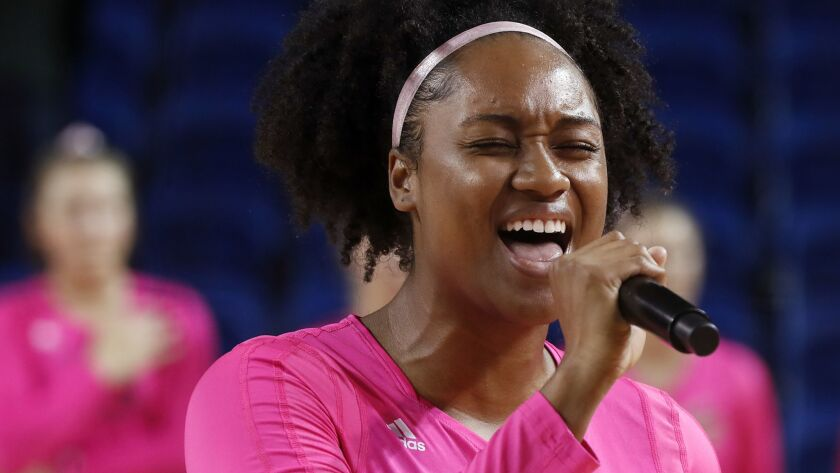 IRVINE CALIF. - OCT. 11, 2018. Idara Akpakpa, a four-year starter at middle blocker for UC Irvine, s