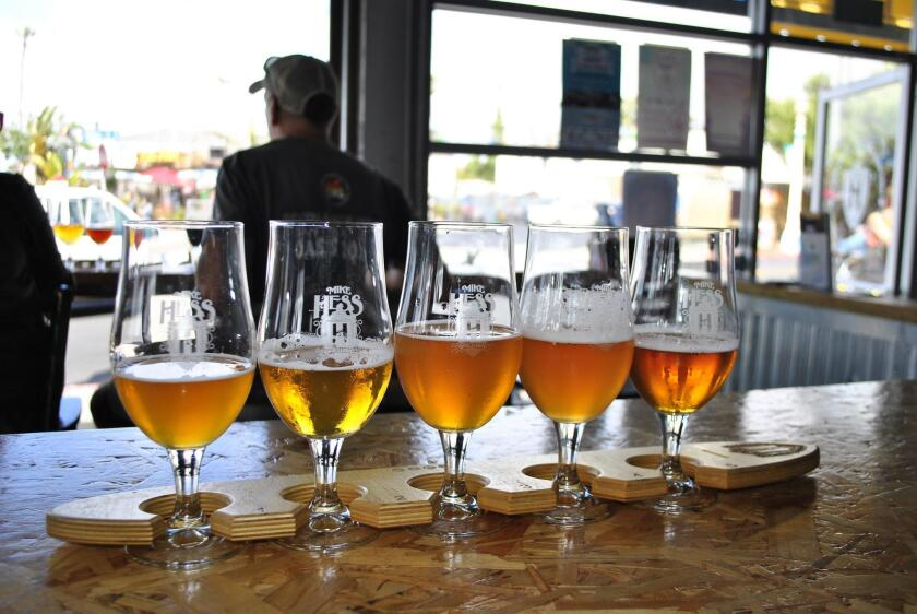A flight of Mike Hess beers at the Ocean Beach tasting room.
