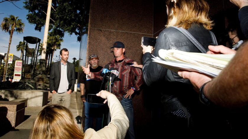 Jason Freeman, grandson of the late cult leader Charles Manson, speaks outside County Court after a