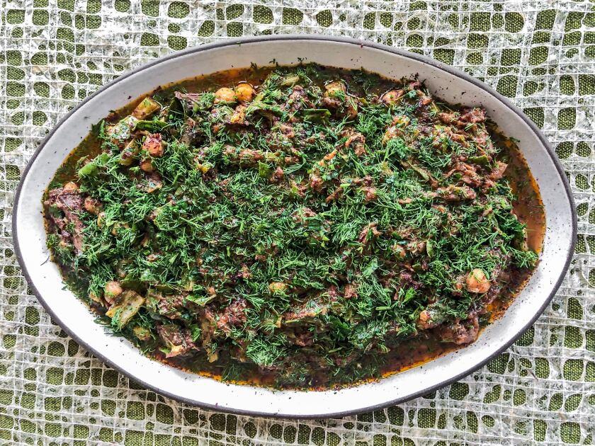 "Sumaqqiyeh, a Gazan beef stew from the cookbook ""Falastin"" by Sami Tamimi and Tara Wigley."