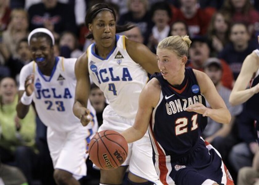 Gonzaga's Courtney Vandersloot (21) is chased by UCLA's Markel Walker (23) and Christina Nzekwe (4) as she races upcourt during the first half of their second-round game of the NCAA women's college basketball tournament Monday, March 21, 2011, in Spokane, Wash. (AP Photo/Elaine Thompson)