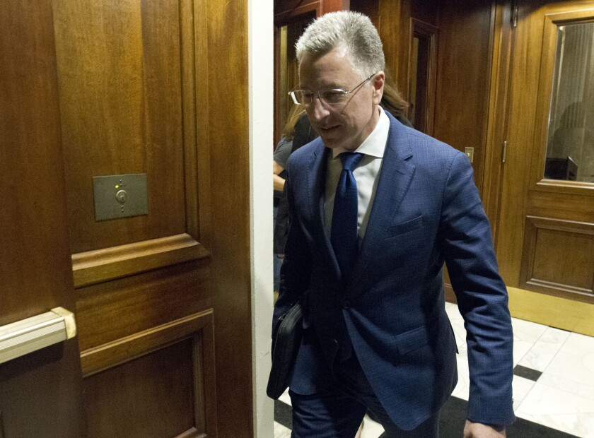 Kurt Volker, a former special envoy to Ukraine, leaves after a closed-door interview last week with House investigators as House Democrats proceed with the Trump impeachment investigation.