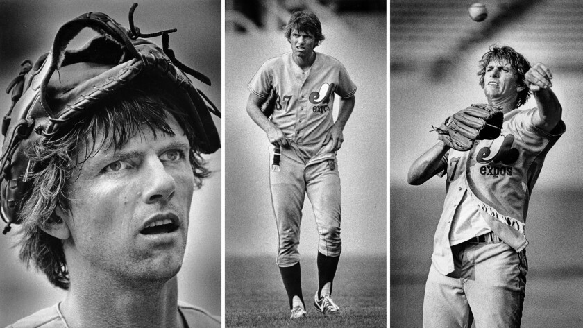 """July 20, 1979: Pitcher Bill """"Spaceman"""" Lee of the Montreal Expos, wears baseball mitt and unkempt uniform during warmups at Dodger Stadium."""