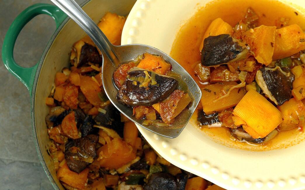 Pumpkin ragout with chorizo and shiitake mushrooms