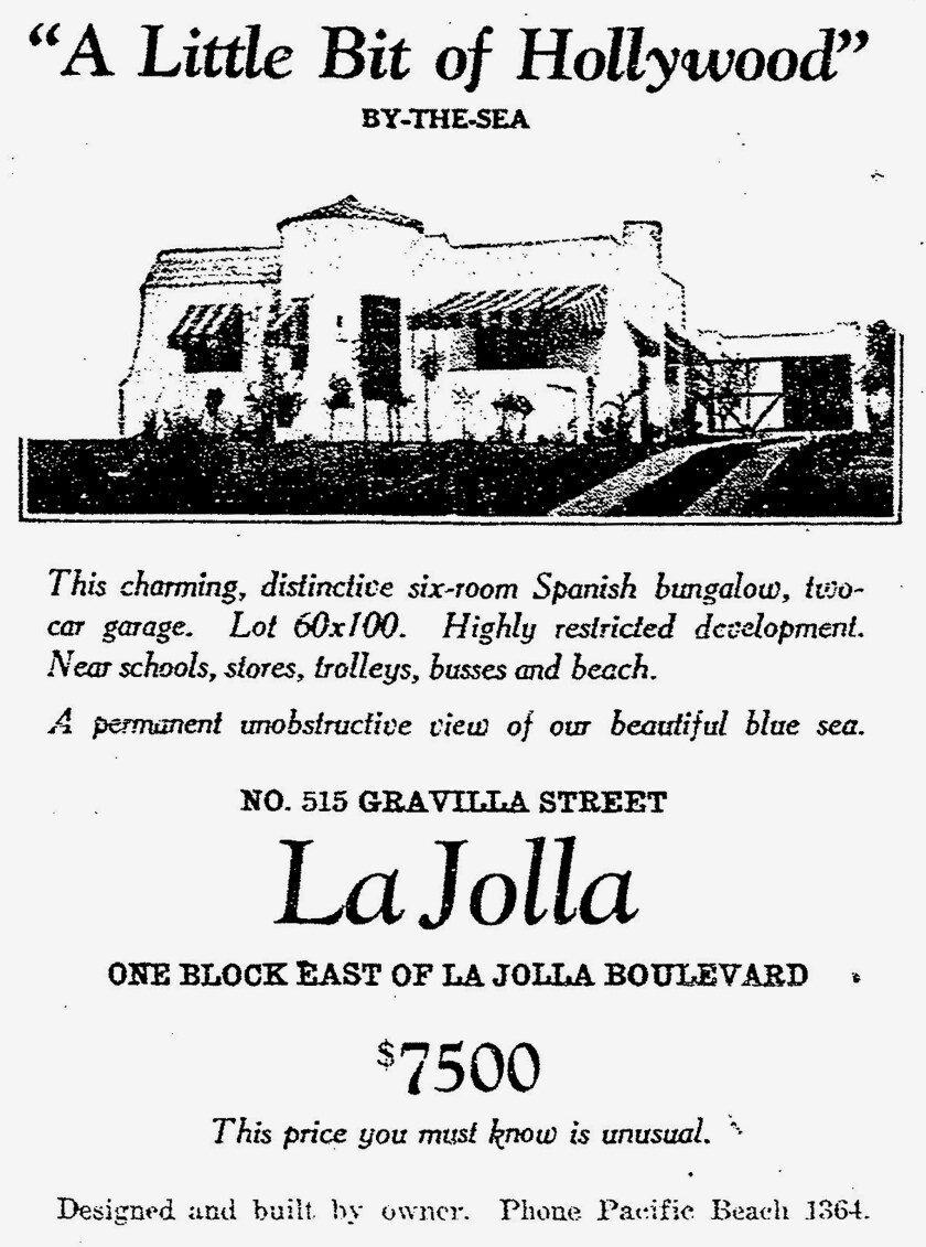 This advertisement appeared in the April 16, 1927 issue of The San Diego Union.