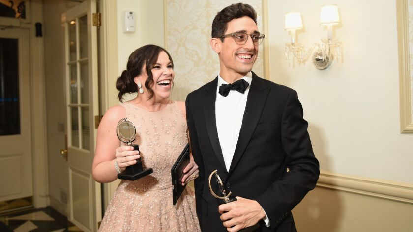 """The San Diego-bred choreographer Justin Peck poses with """"Carousel"""" cast member Lindsay Mendez; both won Tony Awards on Sunday for their work on the musical, directed by former Old Globe artistic chief Jack O'Brien."""