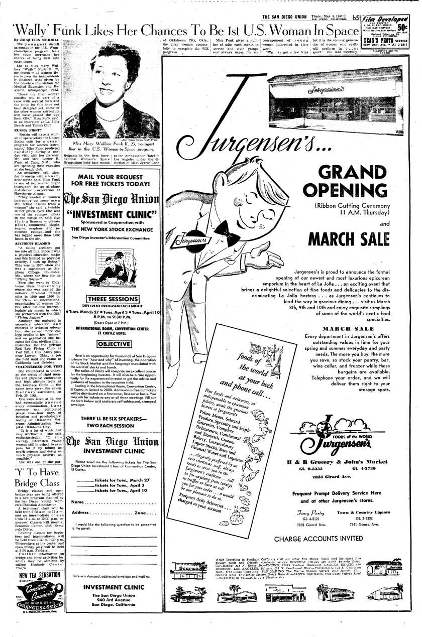 An interview with Wally Funk ran on page B-5 of The San Diego Union, March 8, 1962.