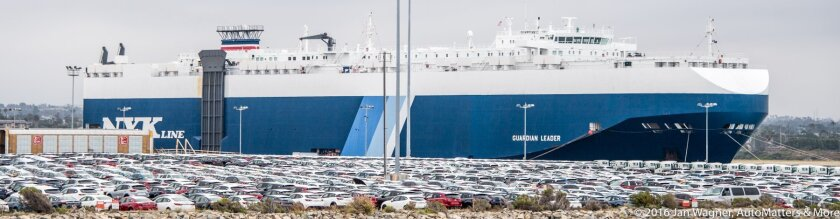 Cargo ship and new autos at the Port of San Diego