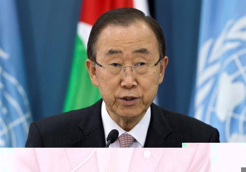 El secretario general de la ONU, Ban Ki-moon, insistió hoy en que la creación de un Estado palestino es la única salida posible al conflicto de Oriente Medio y advirtió de que la política israelí de asentamientos está minando las opciones de lograr la paz. EFE/ARCHIVO