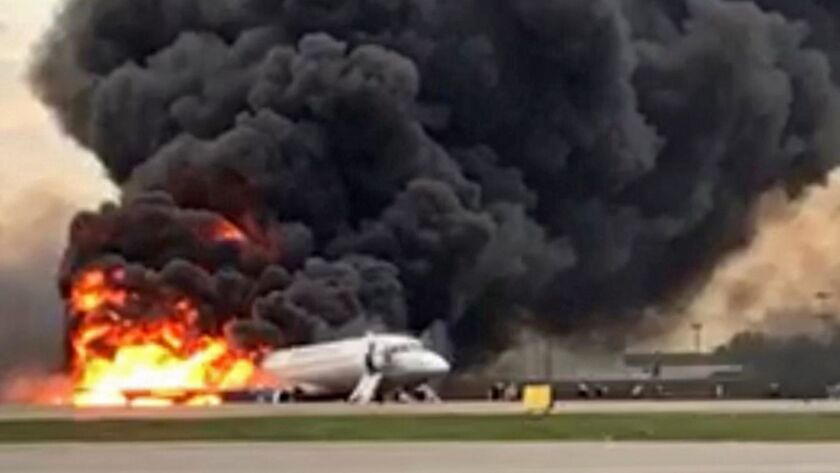 Sukhoi Superjet 100 lands with fire at Sheremetyevo airport, Moscow, Russian Federation - 05 May 2019