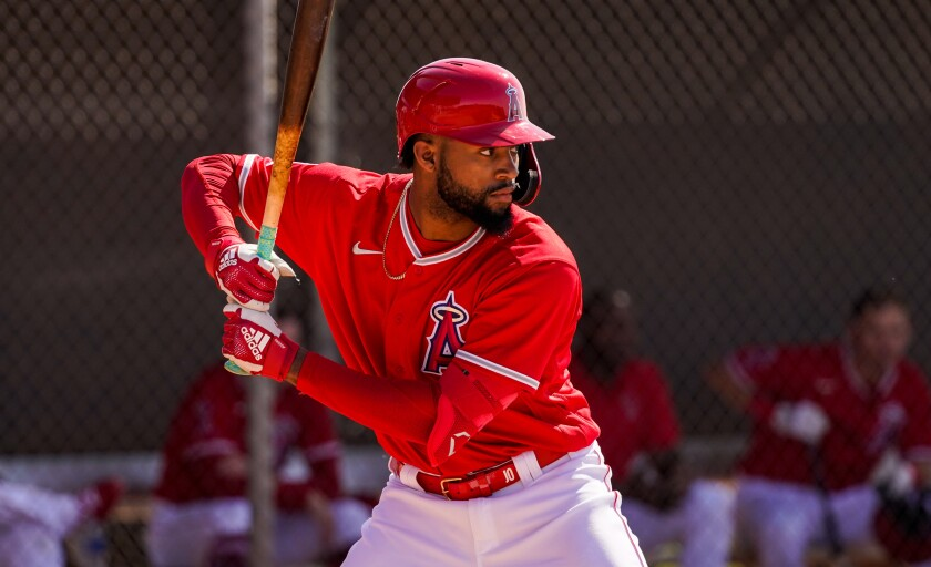 Angels prospect Jo Adell takes an at-bat.