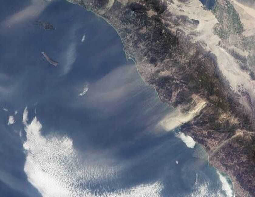 At times, the Santa Ana winds blow dust hundreds of miles out to sea.