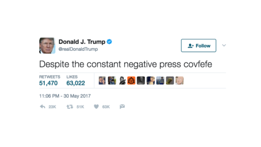 """President Donald Trump sent a tweet with the typo """"covfefe"""" on May 30, 2017."""