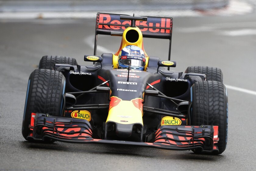 Red Bull driver Daniel Ricciardo of Australia steers his car during the Formula One Grand Prix at the Monaco racetrack in Monaco, Sunday, May 29, 2016. (AP Photo/Claude Paris)