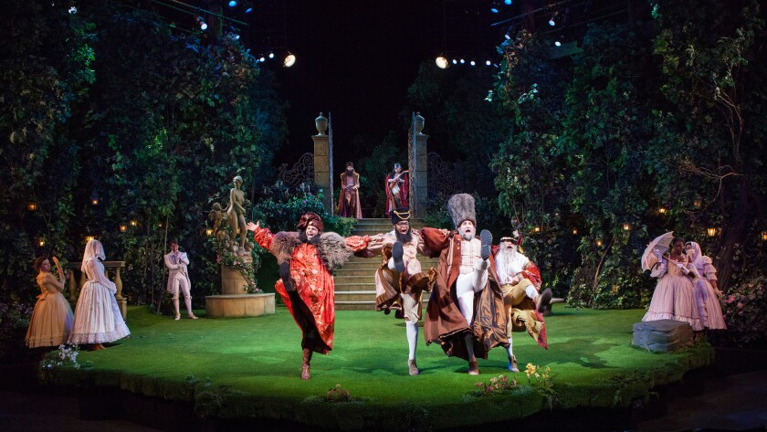 """A staging of William Shakespeare's """"Love's Labor's Lost"""" at the Old Globe in San Diego."""