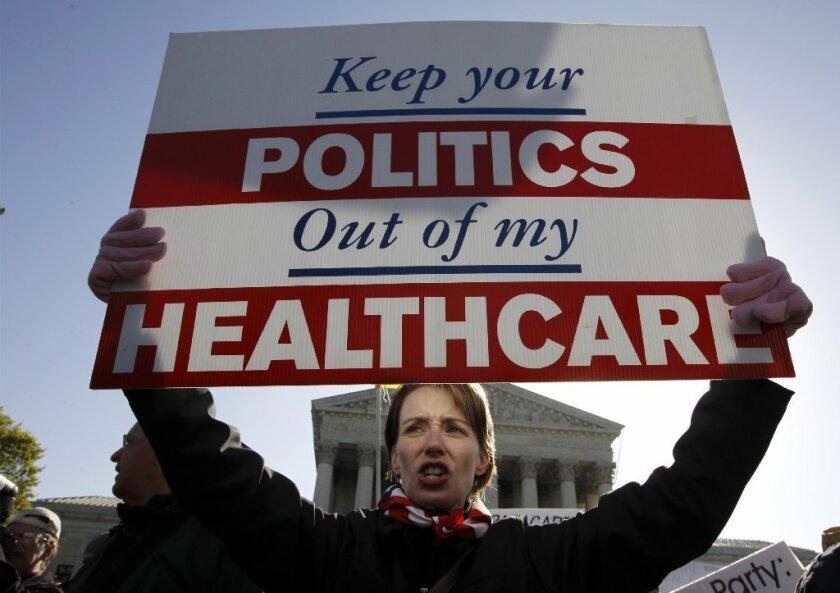 Healthcare protester