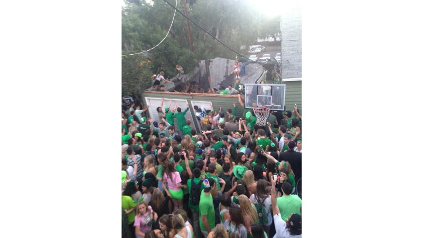 Nine people were injured when a garage roof collapsed during a college party in San Luis Obispo.