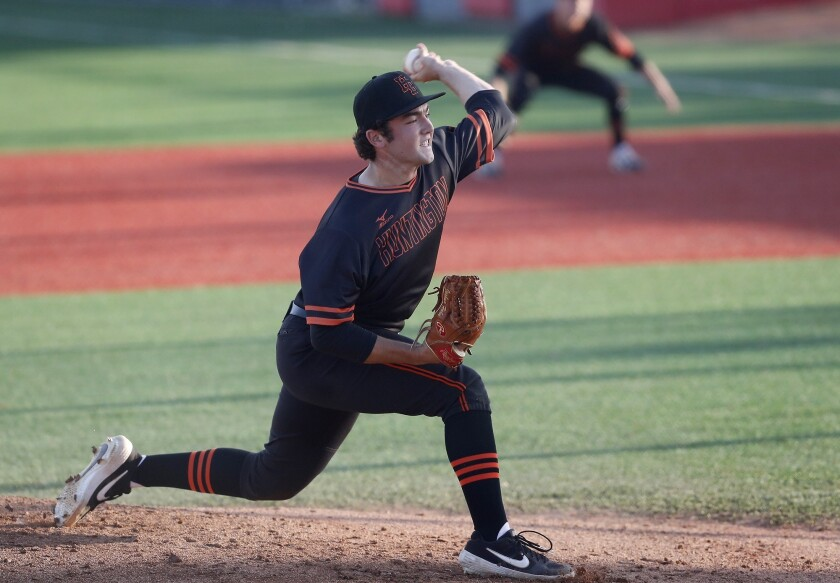 Huntington Beach High starter Josh Hahn pitches against La Mirada during the first inning in a Boras
