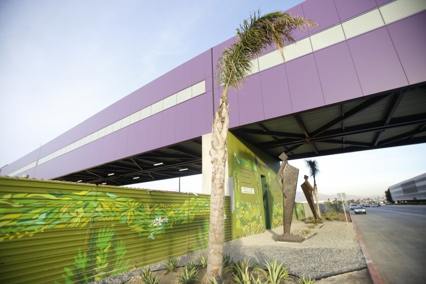 The Cross Border XPress pedestrian bridge between San Diego and the Tijuana Airport is shown from the Tijuana airport side. The CBX Welcome Center now greets nearly 1.5 million travelers entering California through this gateway.