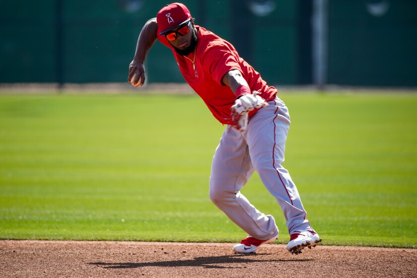 Angels' Luis Rengifo during first full squad workout at Spring Training at Tempe Diablo Stadium on Monday in Tempe, Ariz.