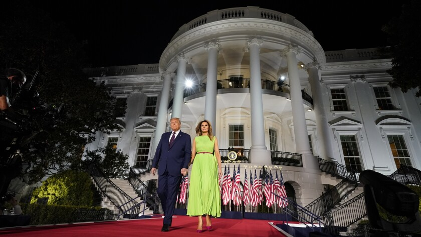 President Trump and Melania Trump arrive for his acceptance speech at the RNC.