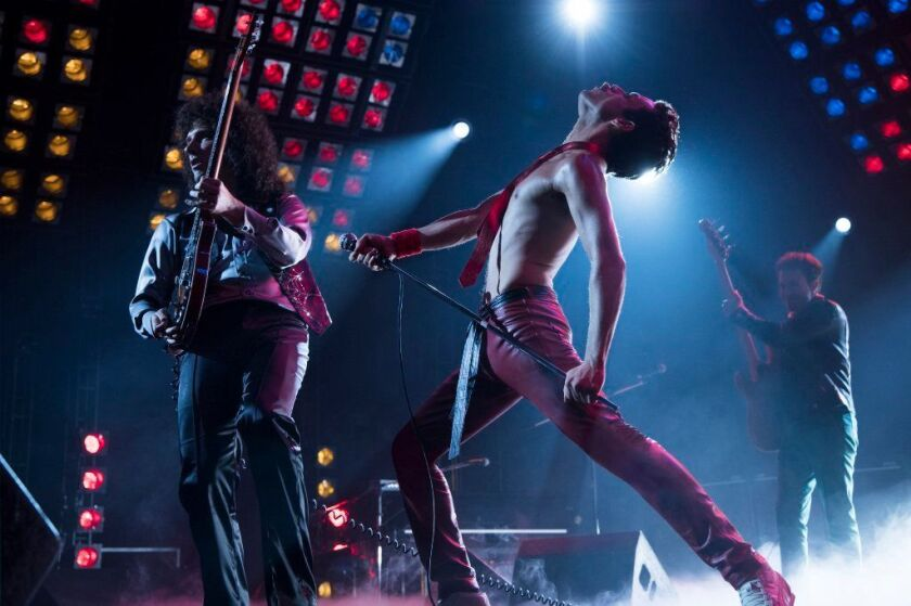 "Gwilym Lee (Brian May), at left, Rami Malek (Freddie Mercury), and Joe Mazzello (John Deacon) star in Twentieth Century Fox's ""Bohemian Rhapsody."""