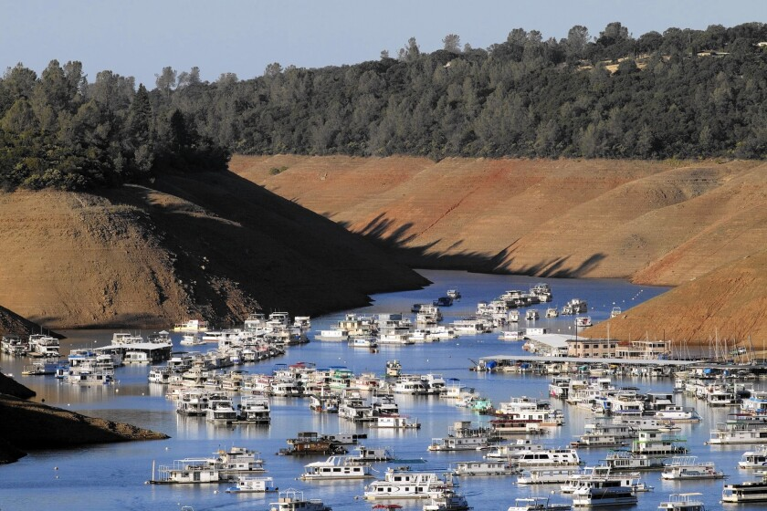 Proposition 1 could bankroll such things as a new dam in the Sacramento Valley, stream protections in the Sierra Nevada and treatment of contaminated groundwater in the Los Angeles Basin. Above, severe drought conditions are evident at Lake Oroville.