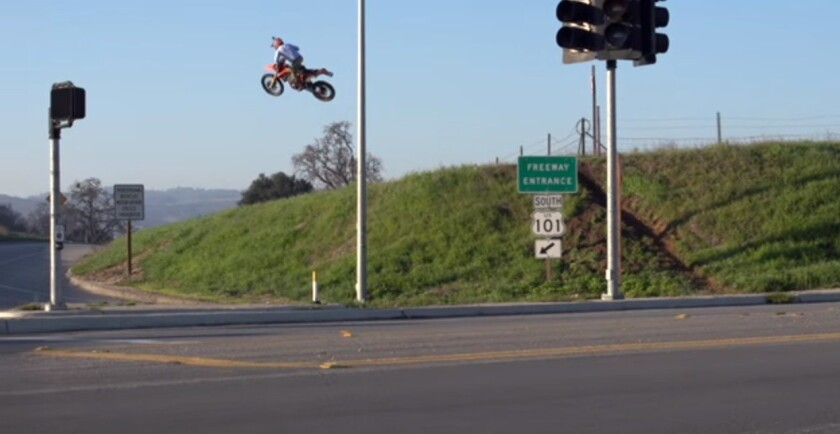A screenshot from a YouTube video shows Topher Ingalls doing stunts on an onramp of the 101 Freeway in San Luis Obispo County.