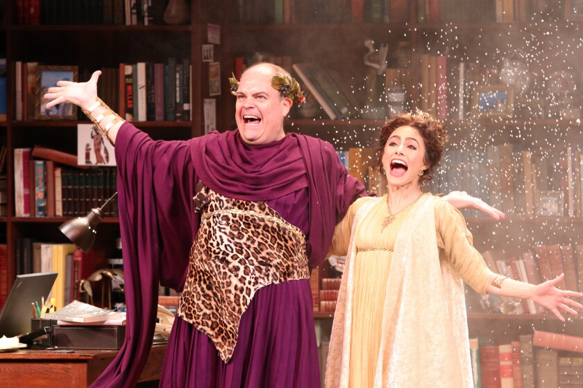 "Brad Oscar as Dionysus and Jessie Cannizzaro as Thalia in ""Ken Ludwig's The Gods of Comedy."""