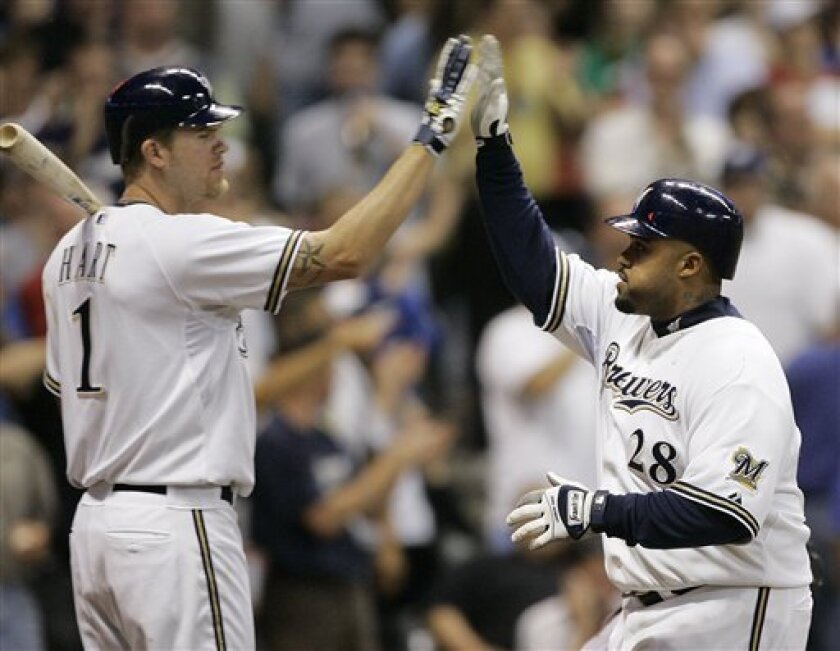 Milwaukee Brewers' Prince Fielder, right, is congratulated by Corey Hart after hitting a home run during the eighth inning of a baseball game against the Arizona Diamondbacks Monday, June 2, 2008, in Milwaukee. (AP Photo/Morry Gash)