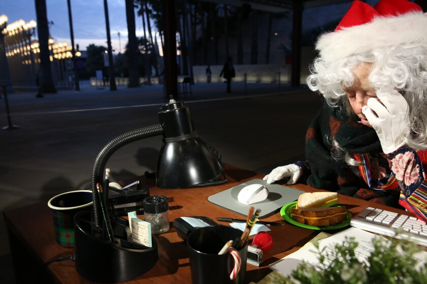 """Wilma, an accountant in Alex Prager's sculptural installation """"Farewell, Work Holiday Parties."""""""