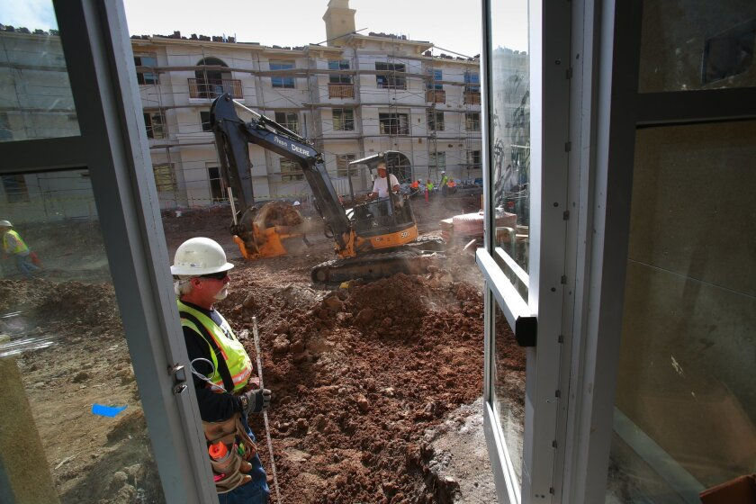 Construction at H.G. Fenton's Solterra apartment project in Scripps exemplified a pickup apartment activity in recent months.