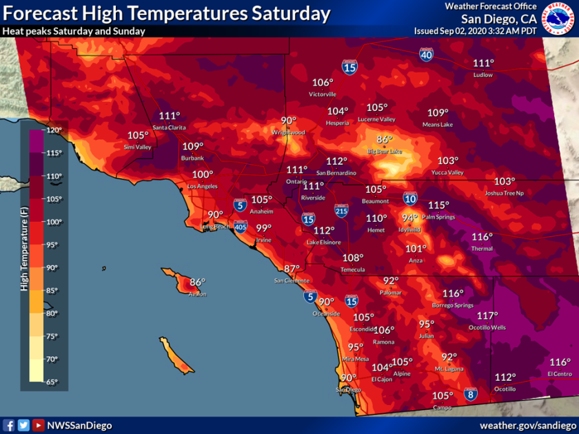 Saturday will be hot throughout the county and more than 100 degrees inland.