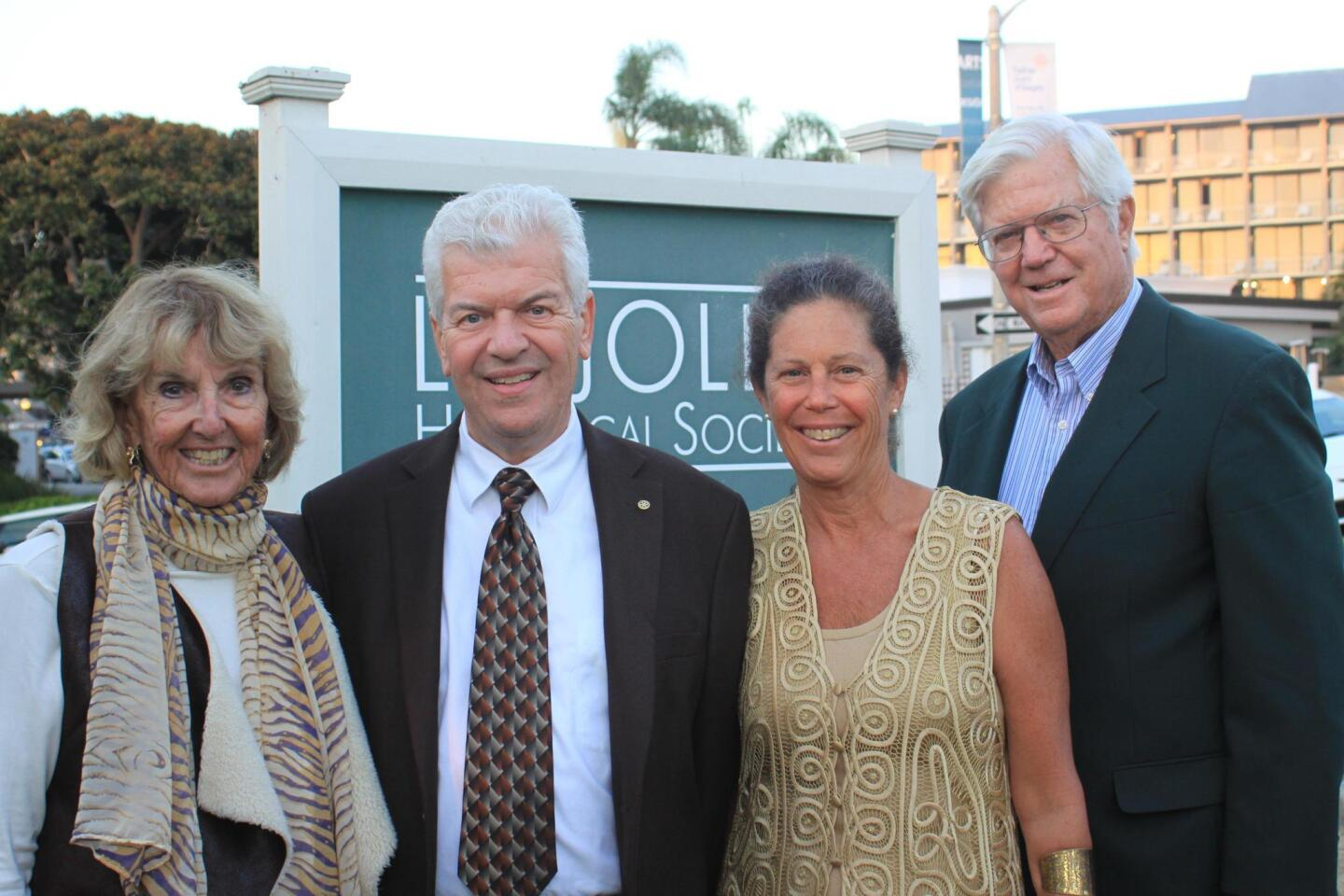 Jane Fetter, Bill and Suzanne Lawrence, and Tom Fetter, Executive Director of the San Diego History Center