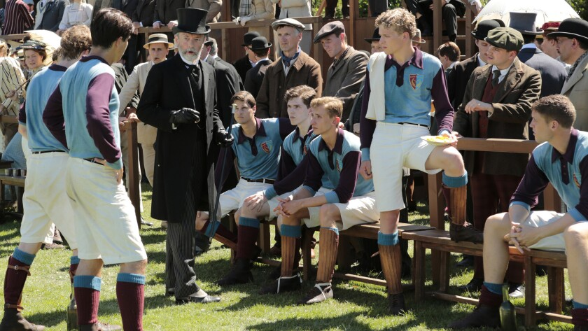 "Lord Kinnaird (Anthony Higgins) coaches a soccer team in the FIFA-financed movie ""United Passions."""